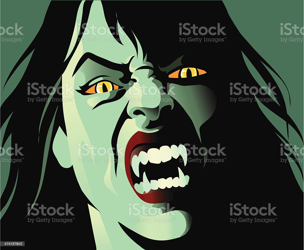 Deadly Female Vampire With Fangs - Close Up vector art illustration