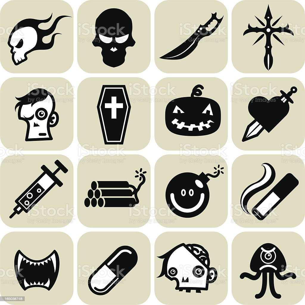 deadly icons vector art illustration
