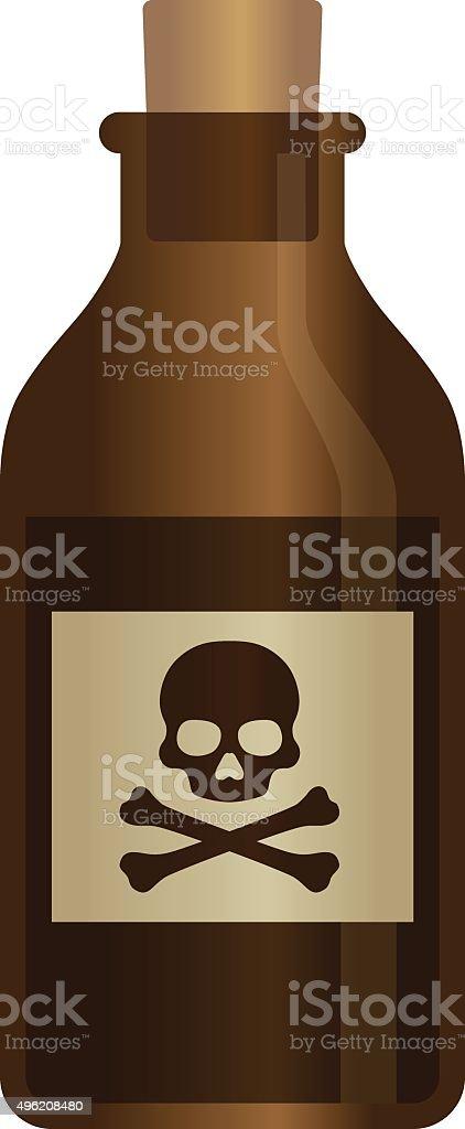 Deadly liquid poison bottle with crossbones label vector illustration vector art illustration