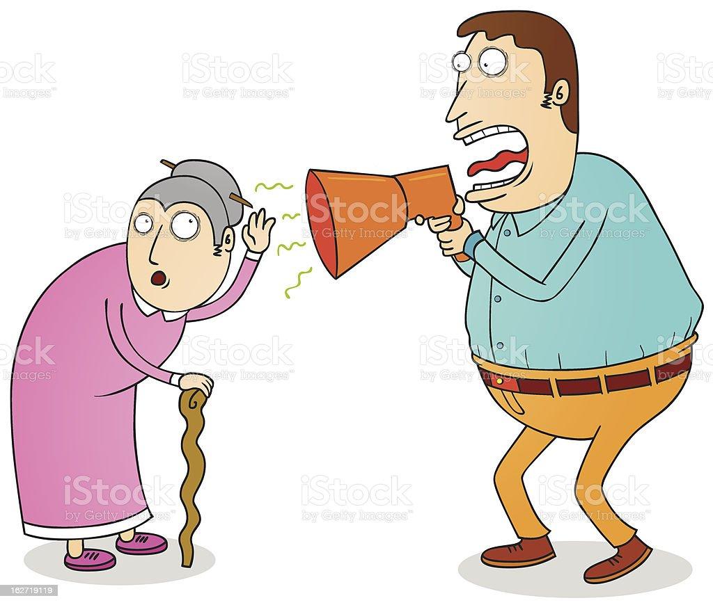 deaf grandma vector art illustration