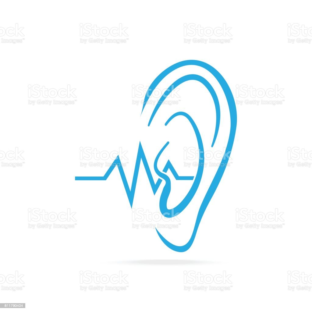 Deaf icon, Hearing and ear blue icon, disability to hear icon vector art illustration