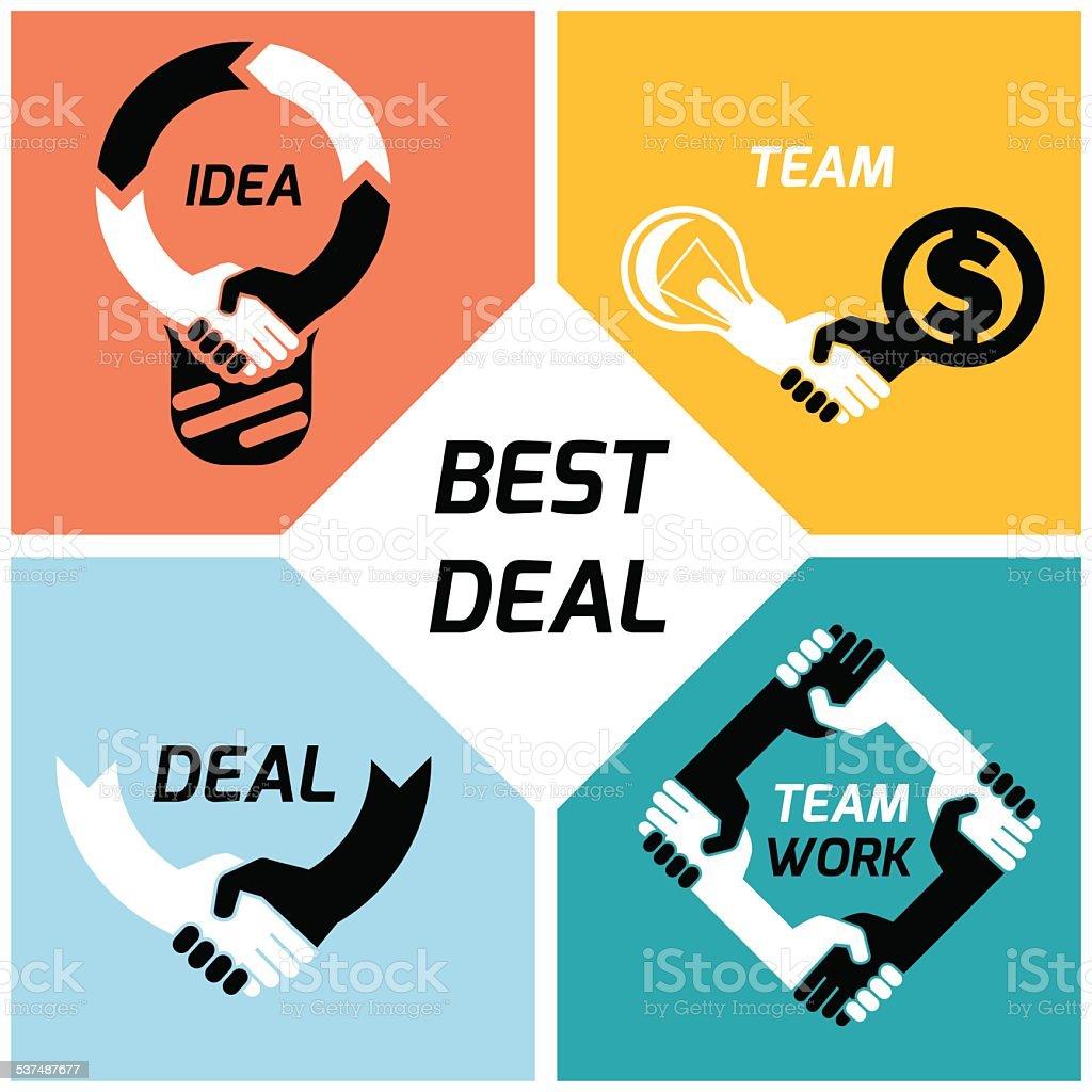 Deal set vector art illustration