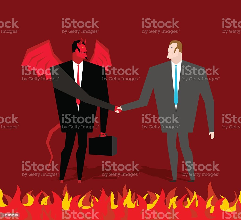 Deal with devil. Businessman and make deal demon in hell vector art illustration