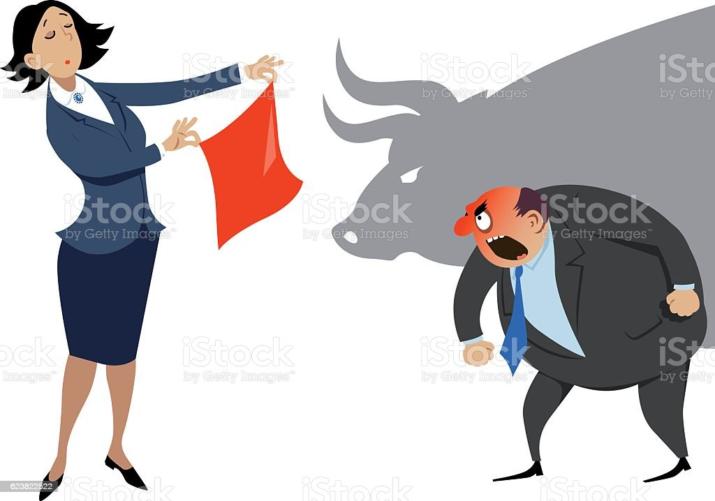 Dealing with an aggressive co-worker vector art illustration