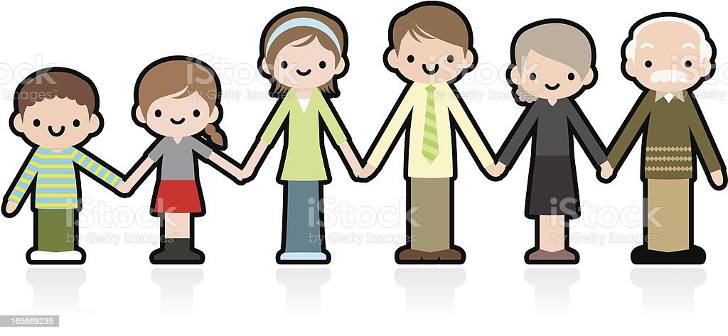 Dear Cute Multi-generation Family Holding Hands royalty-free stock vector art