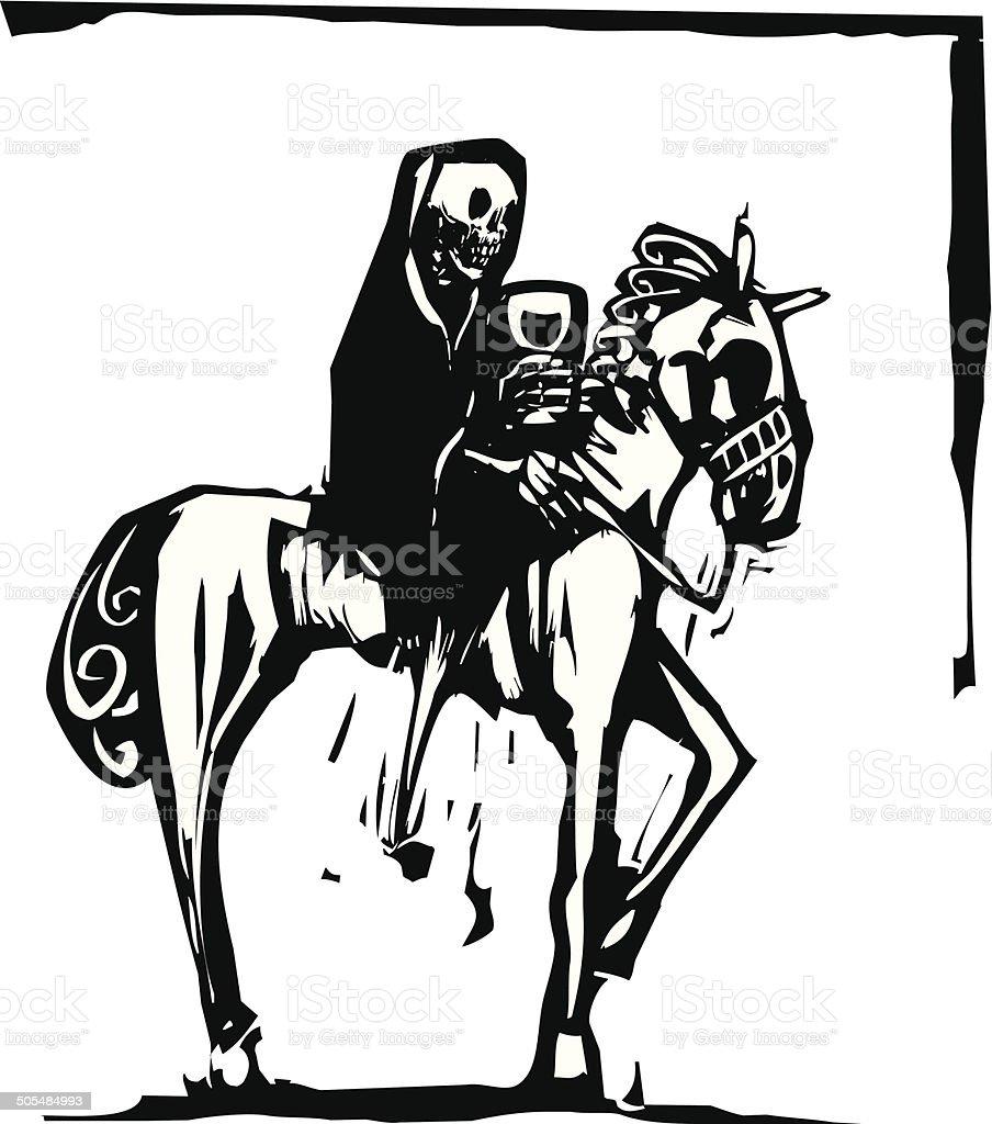 Death drinking wine on Horse vector art illustration
