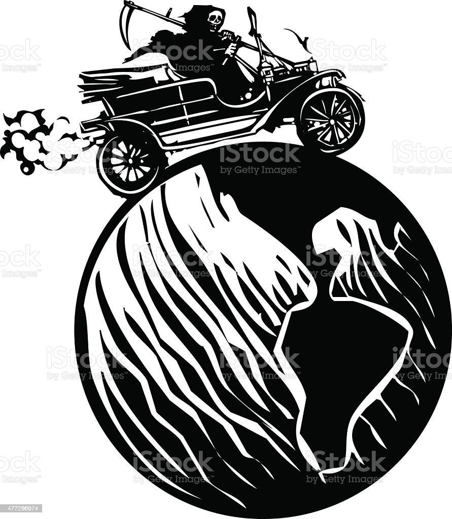 Death driving around the world vector art illustration