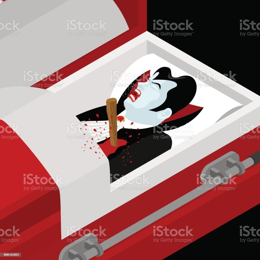 Death of Dracula. Vampire Count in an open coffin. Aspen stake in heart of ghoul. Awful scream. Extermination of vampires. Destruction of evil and monster vector art illustration