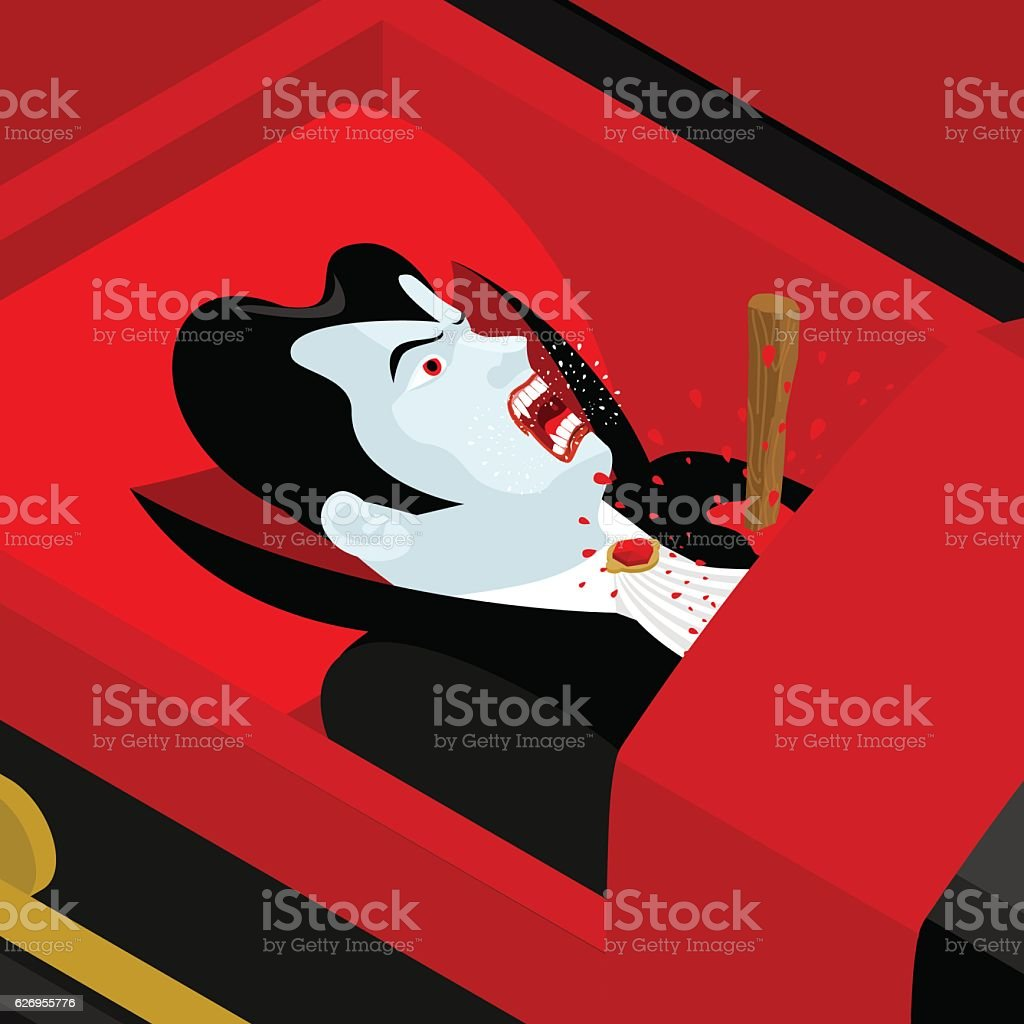 Death of Dracula. Vampire Count in an open coffin. vector art illustration