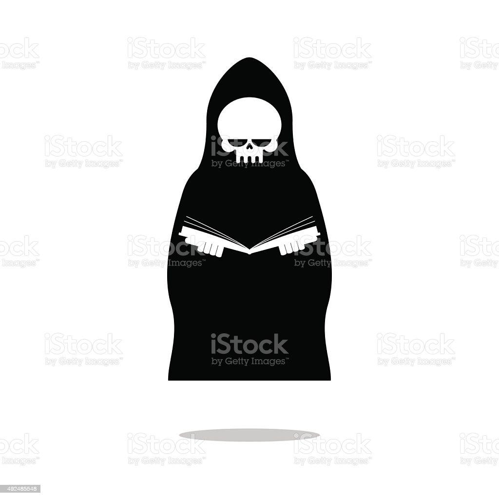 Death of reading book. Grim Reaper black cloak is reading vector art illustration