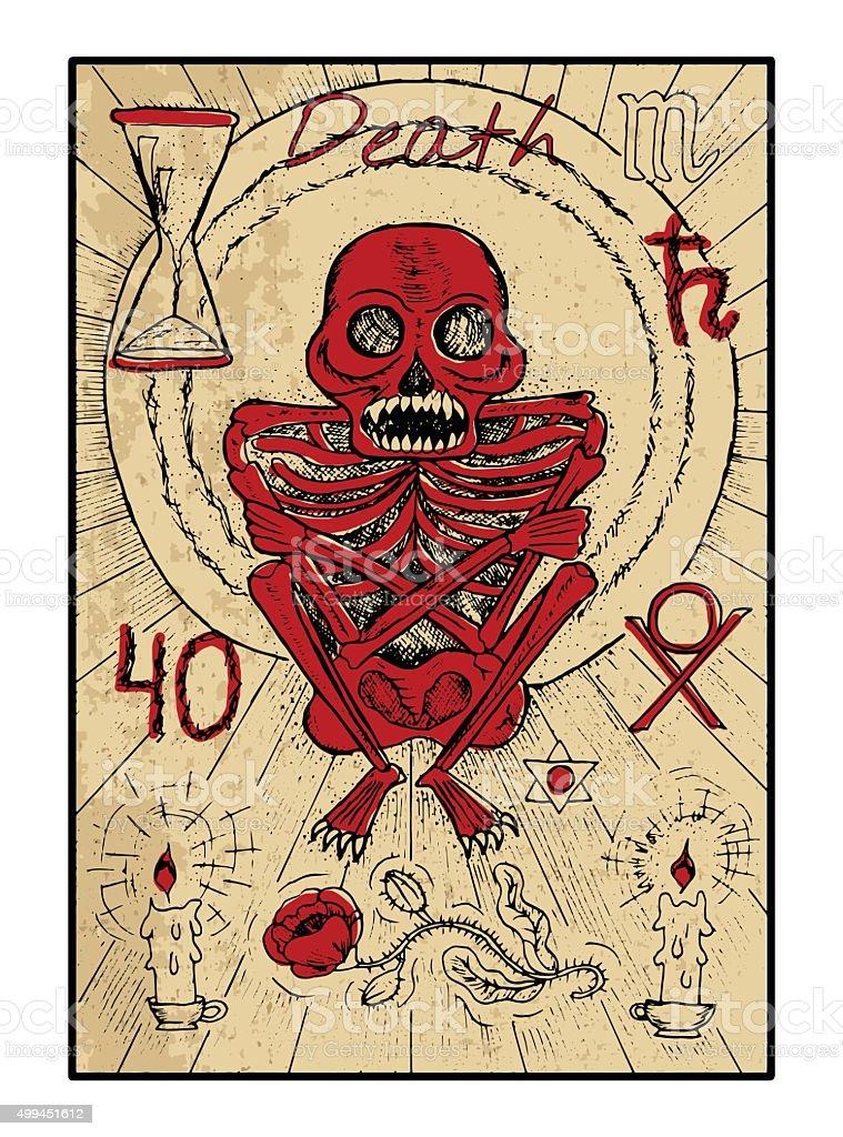 Death. The tarot card in color vector art illustration