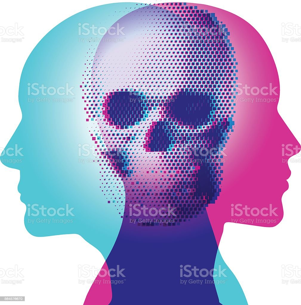 Death Thoughts vector art illustration