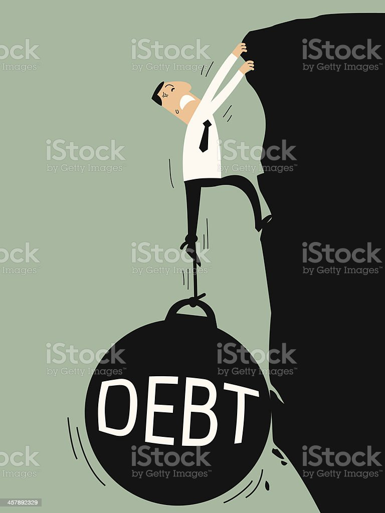 Debt bring down vector art illustration