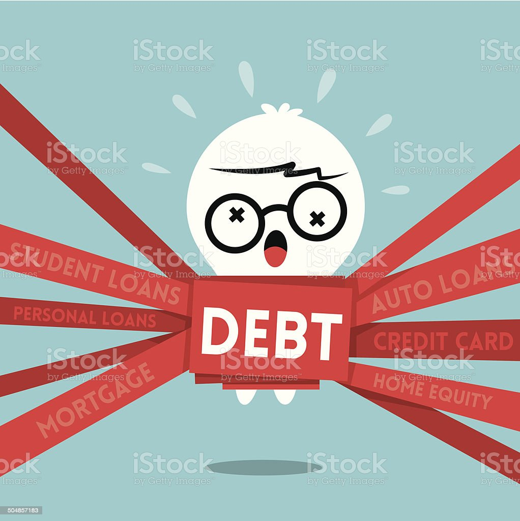 Debt concept illustration a man wrapped up in red tape vector art illustration