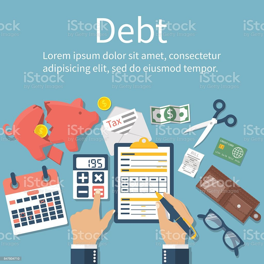 Debt concept vector vector art illustration