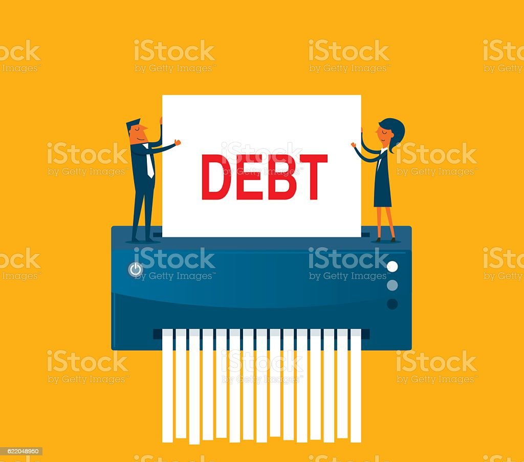 Debt elimination vector art illustration