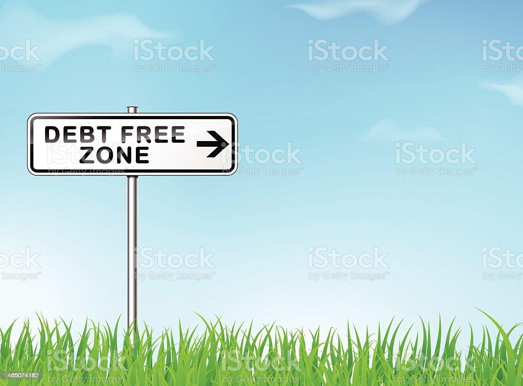 debt free zone sign vector art illustration