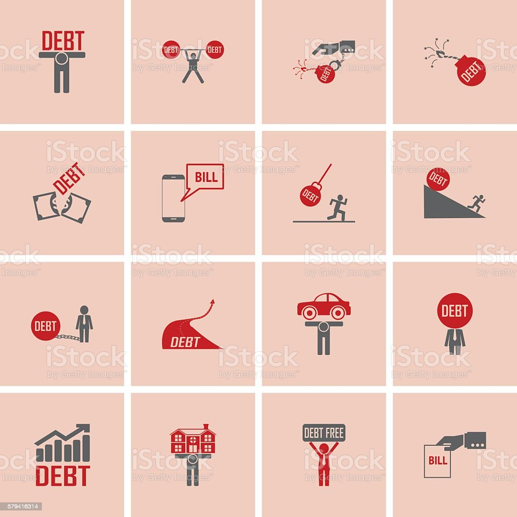 debt icon and money crisis icons set vector art illustration