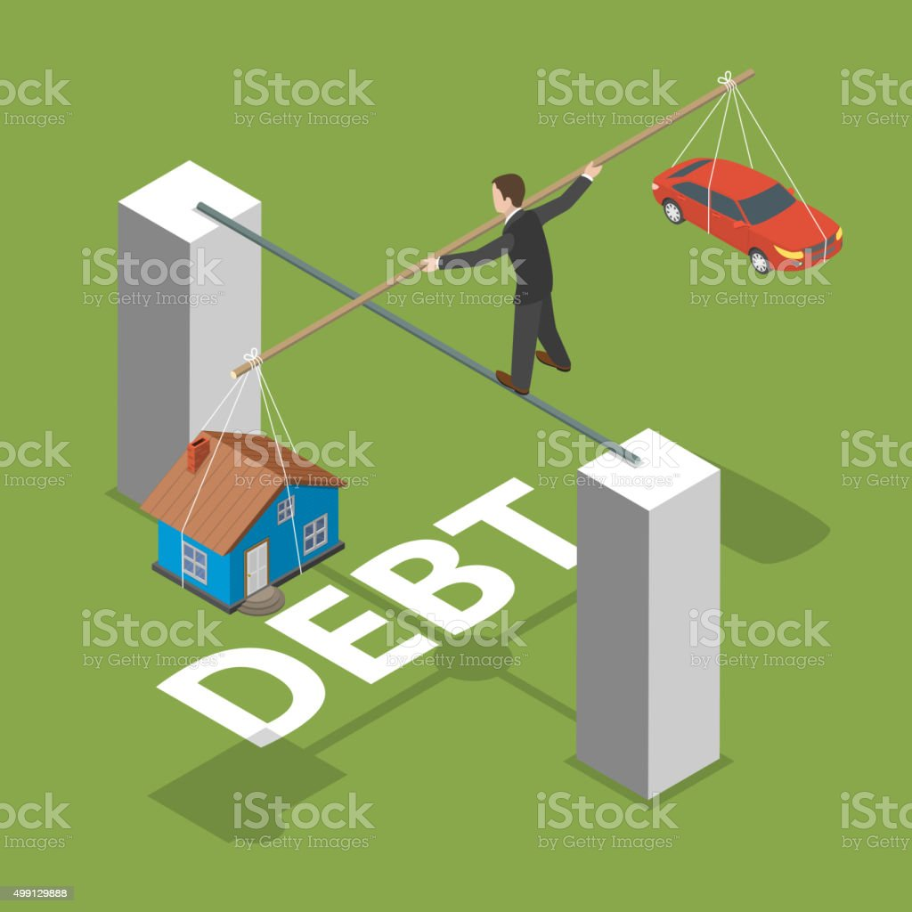Debt isometric flat vector concept. vector art illustration