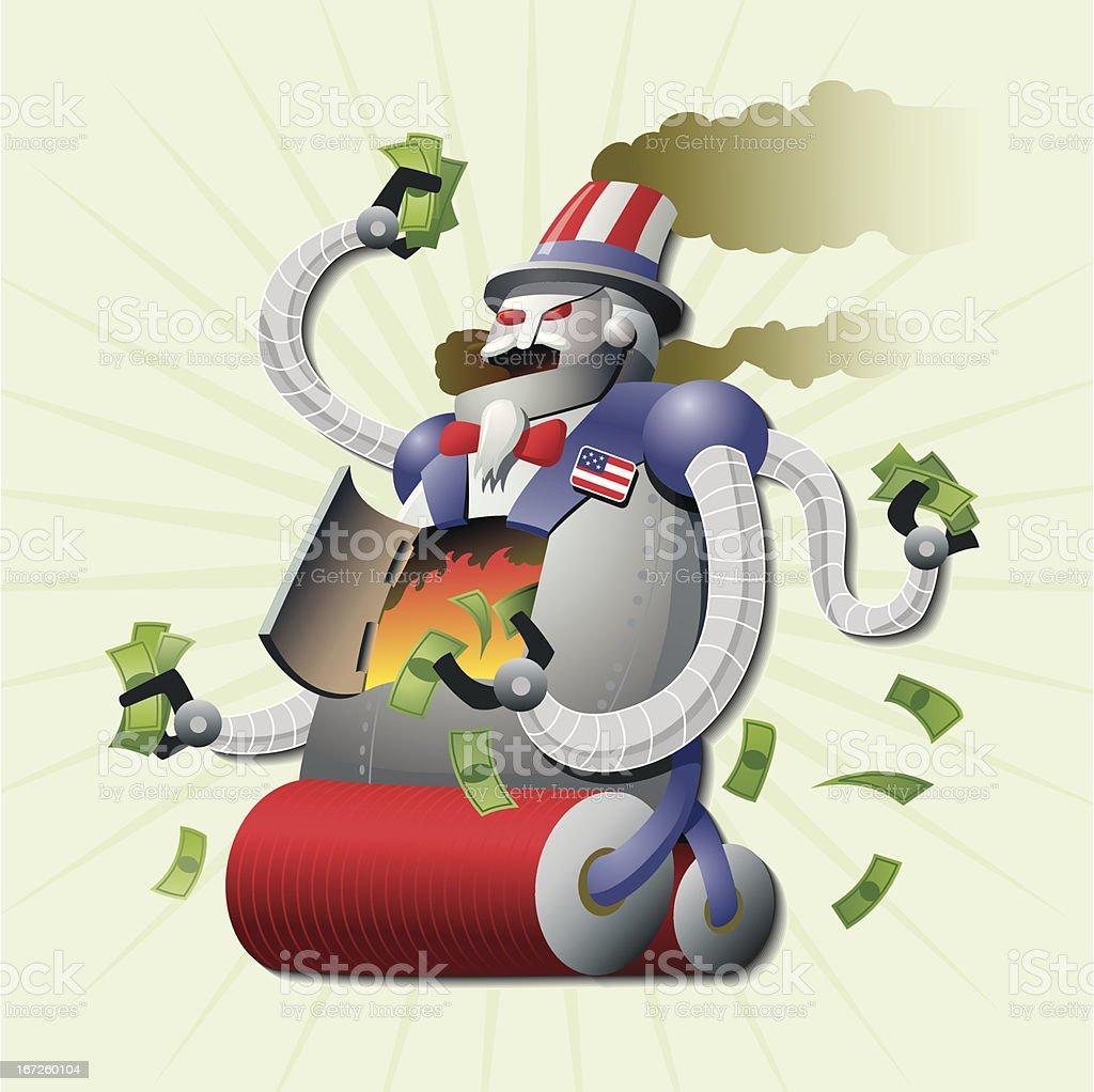 U.S. Debt Robot Monster royalty-free stock vector art