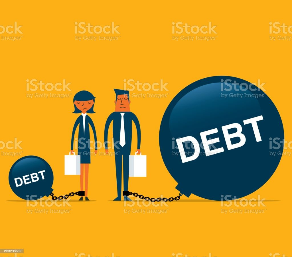 Debt with Business person vector art illustration