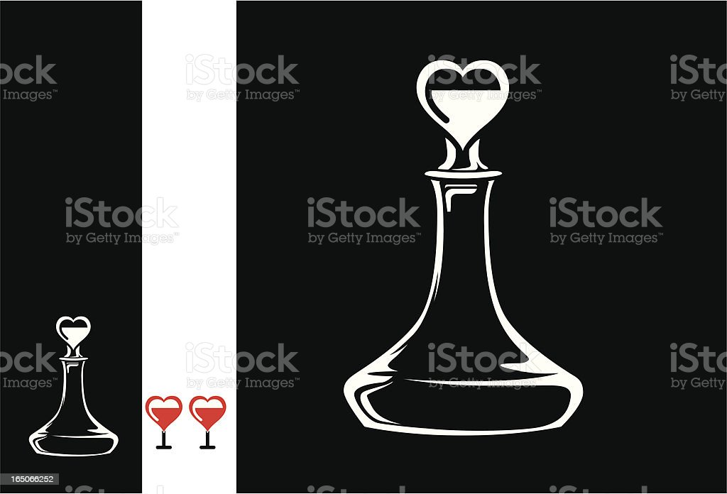 decanter and red wine glass vector art illustration