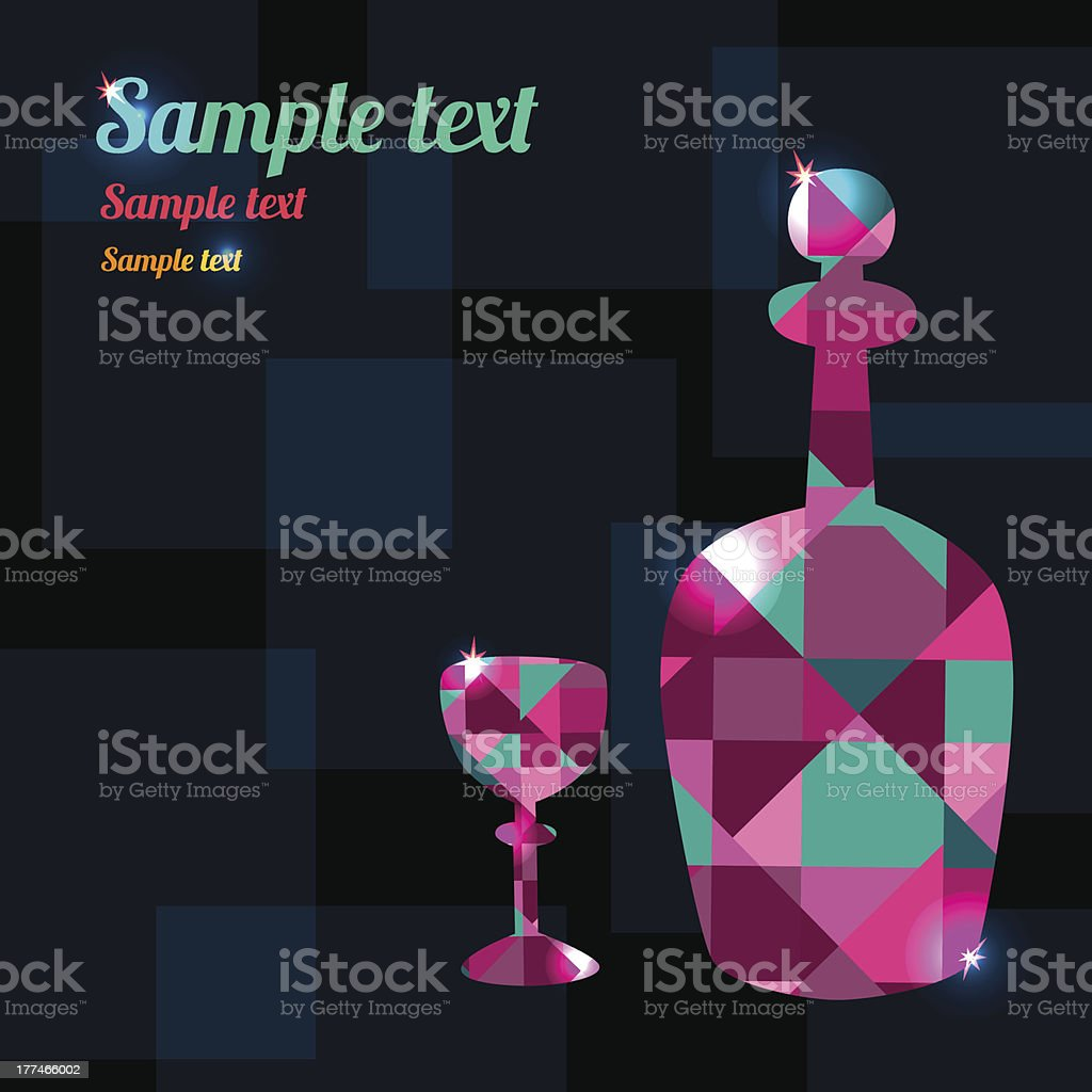 Decanter and wineglass royalty-free stock vector art