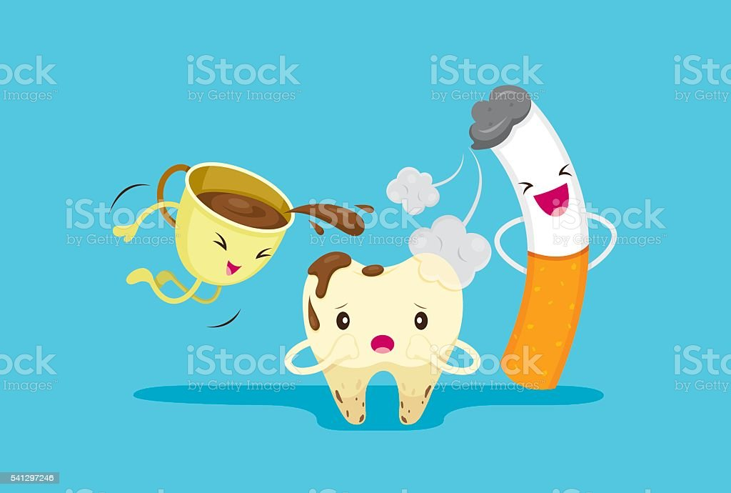 Decayed Tooth Problem With Smoke And Coffee vector art illustration