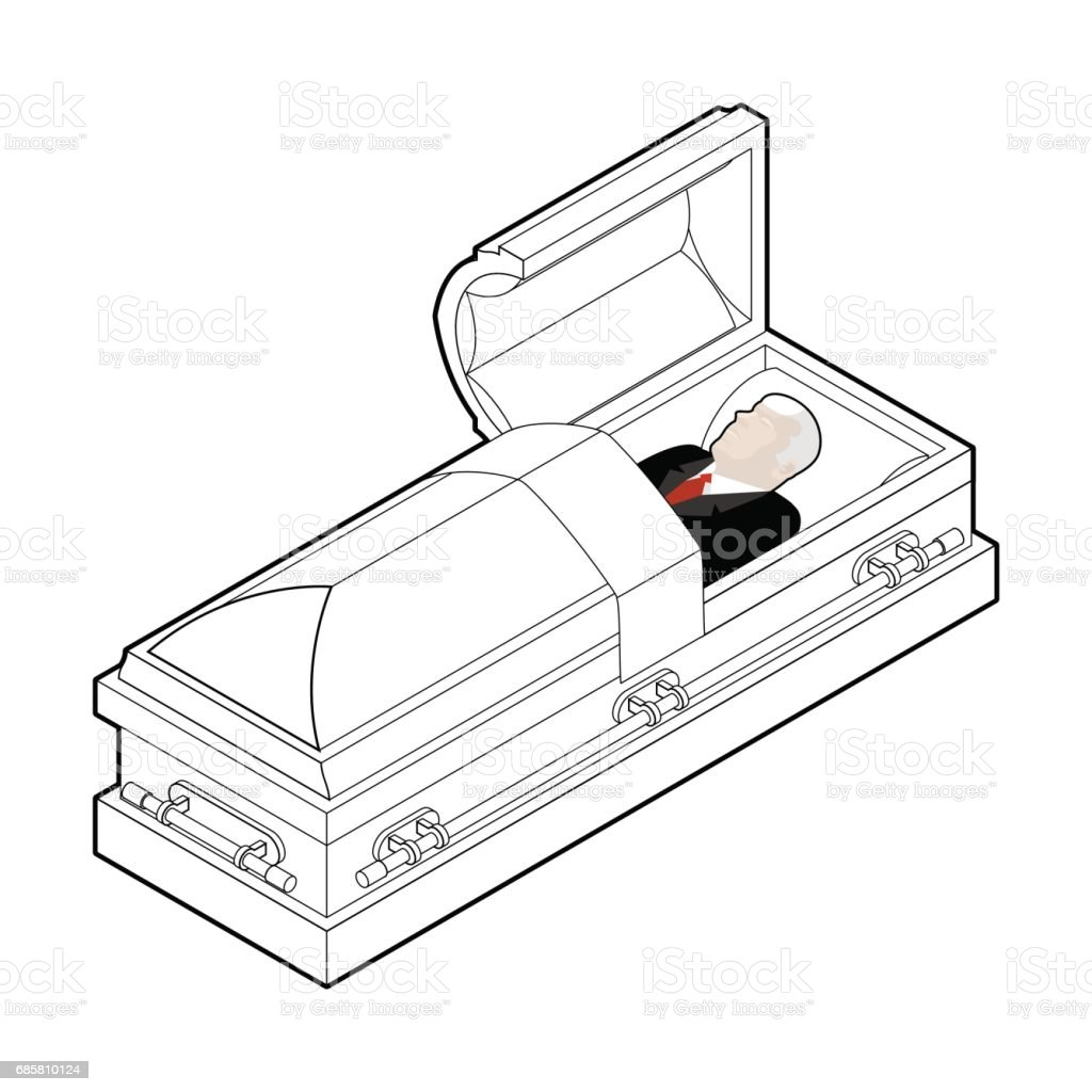 Deceased in coffin. Dead man lay in wooden casket. Corpse in an open hearse for burial vector art illustration