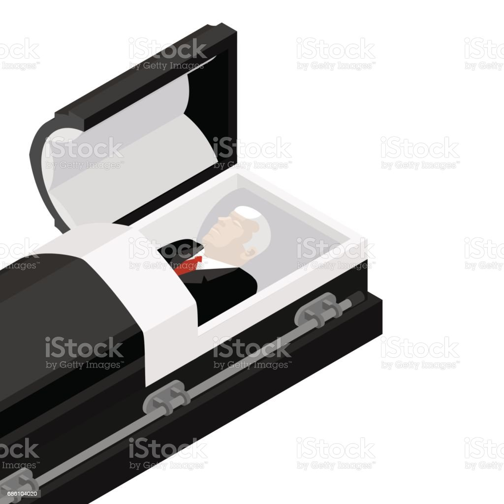 Deceased in coffin. late lamented lay in wooden casket. Corpse in an open hearse for burial vector art illustration