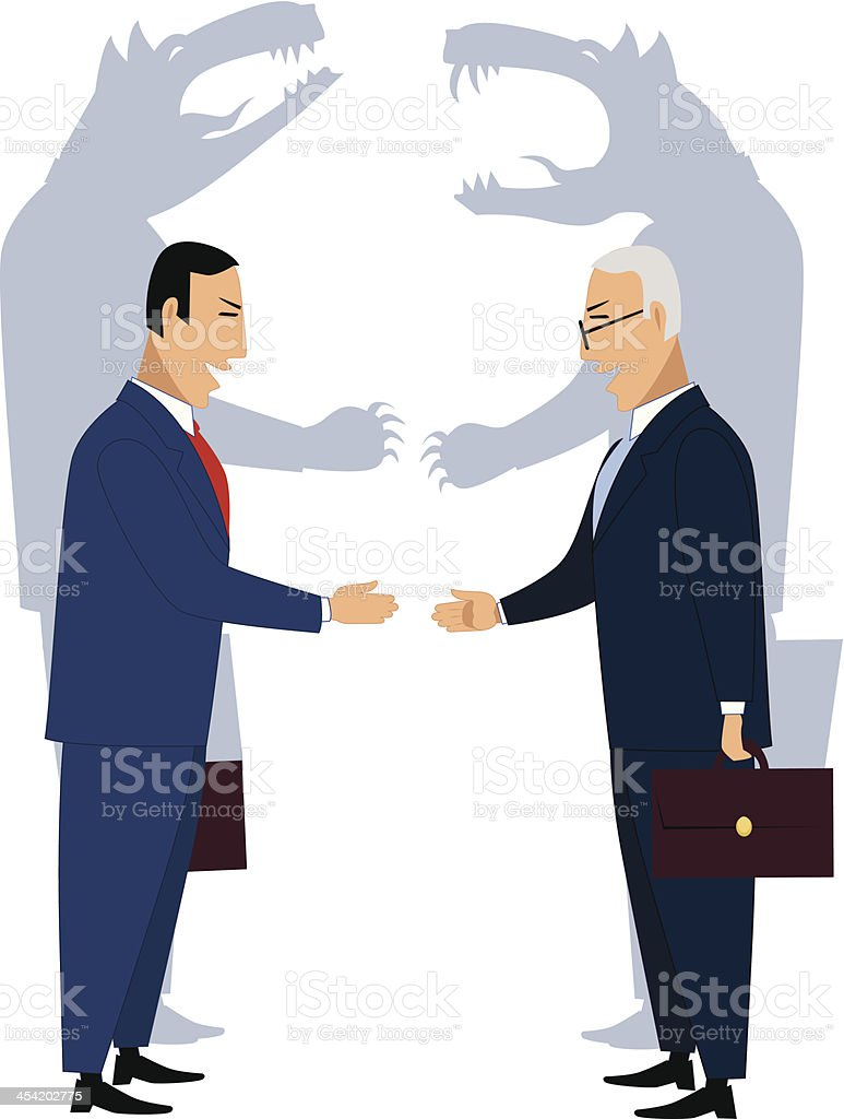 Deceiving businessmen vector art illustration