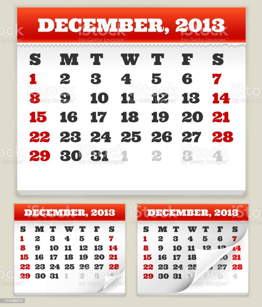 December 2013 Calendar Set royalty-free stock vector art