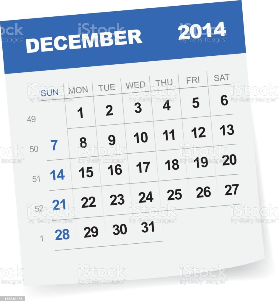 December 2014 Calendar - Illustration vector art illustration