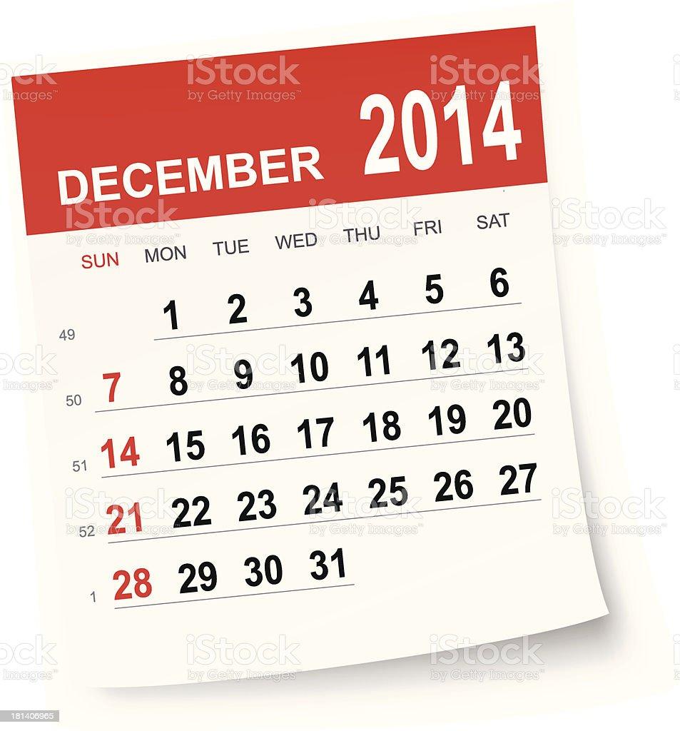 December 2014 calendar royalty-free stock vector art