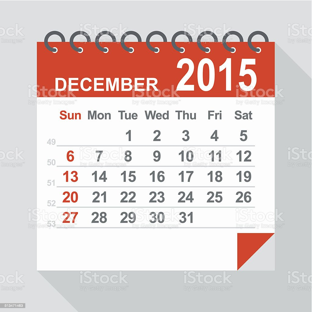 December 2015 calendar - Illustration vector art illustration