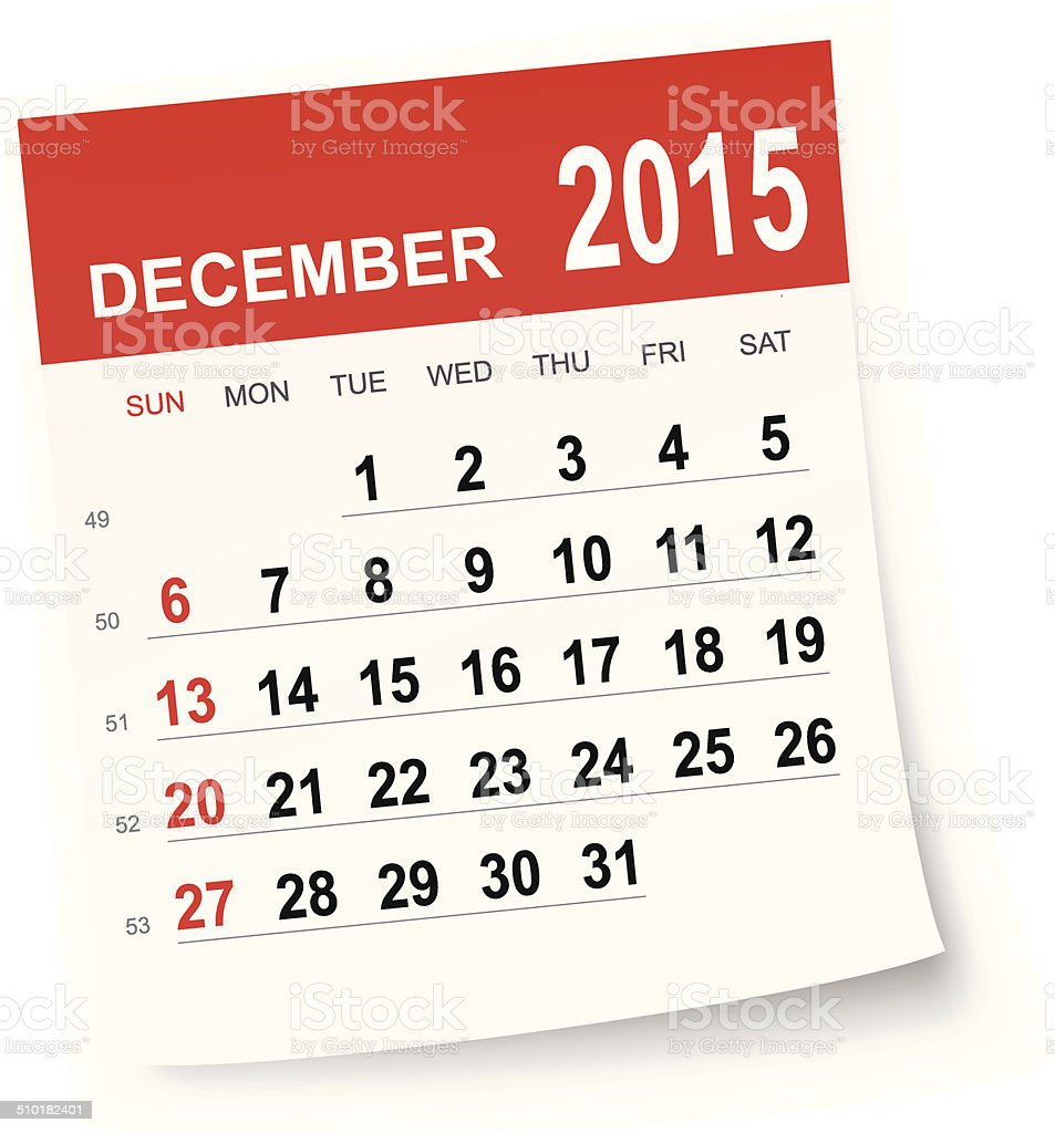 December 2015 calendar vector art illustration