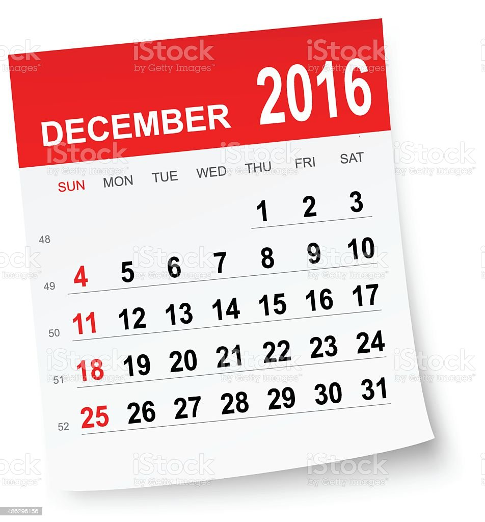 December 2016 calendar vector art illustration