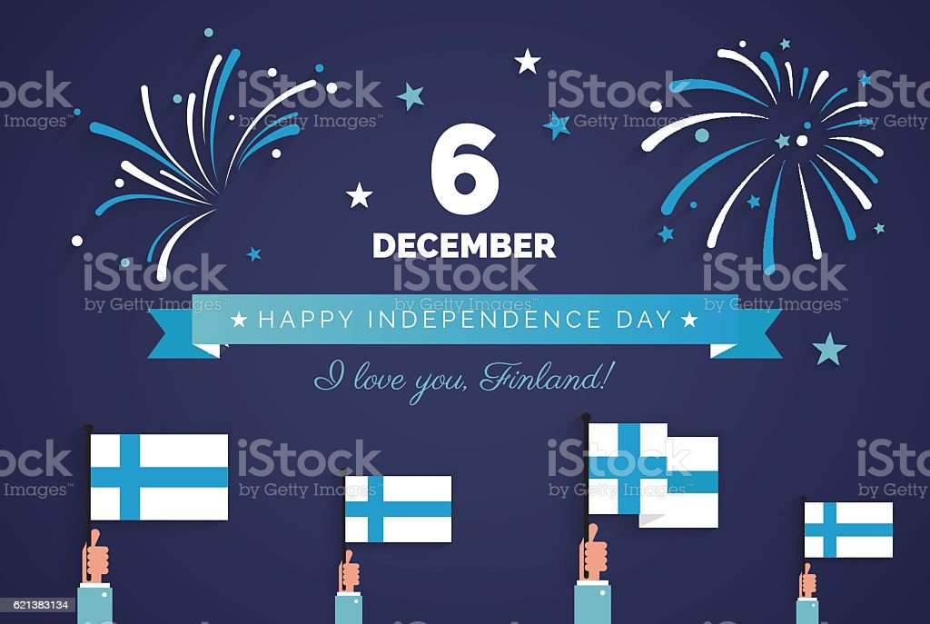 December 6th, Finland, Finnish Independence Day greeting card. vector art illustration