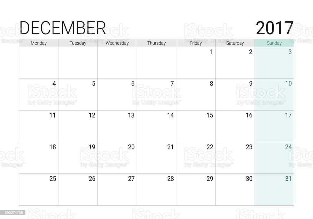 2017 December calendar (or desk planner) vector art illustration