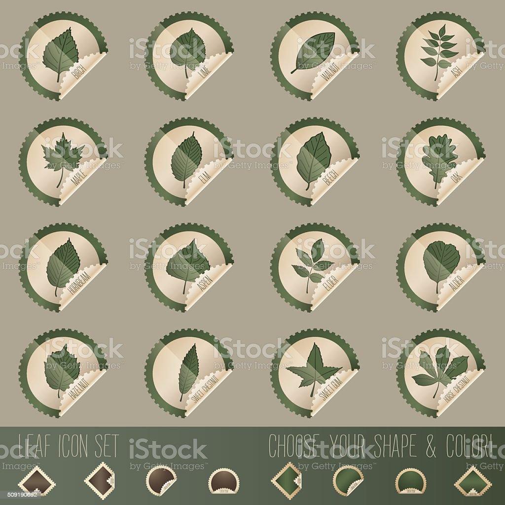 deciduous tree leaf icon set in stamp shape vector art illustration