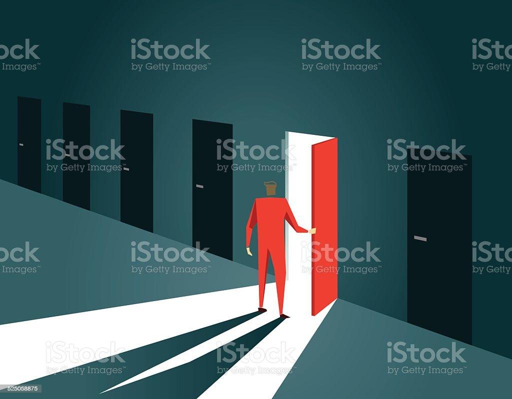 Decisions,Choice, Inspiration, Door, Doorway, Gate, Open, Opportunity vector art illustration