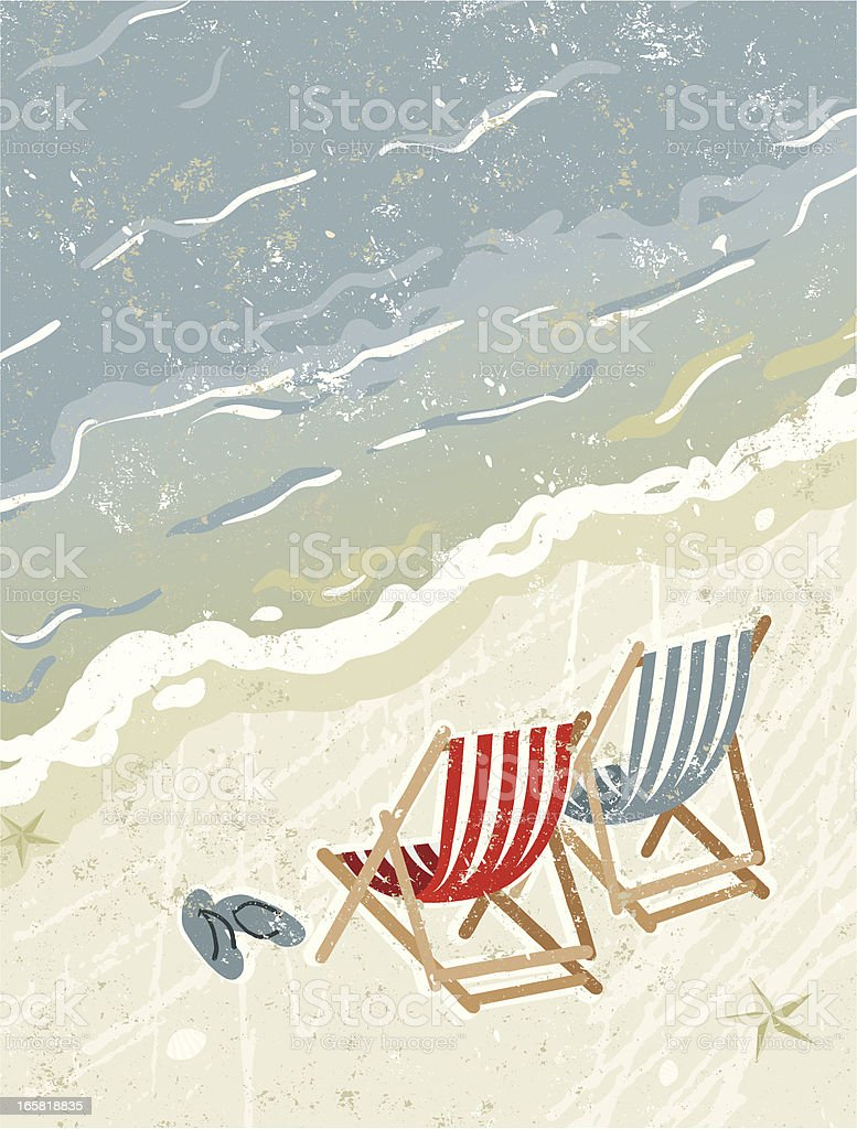 Deck Chairs on the Beach royalty-free stock vector art