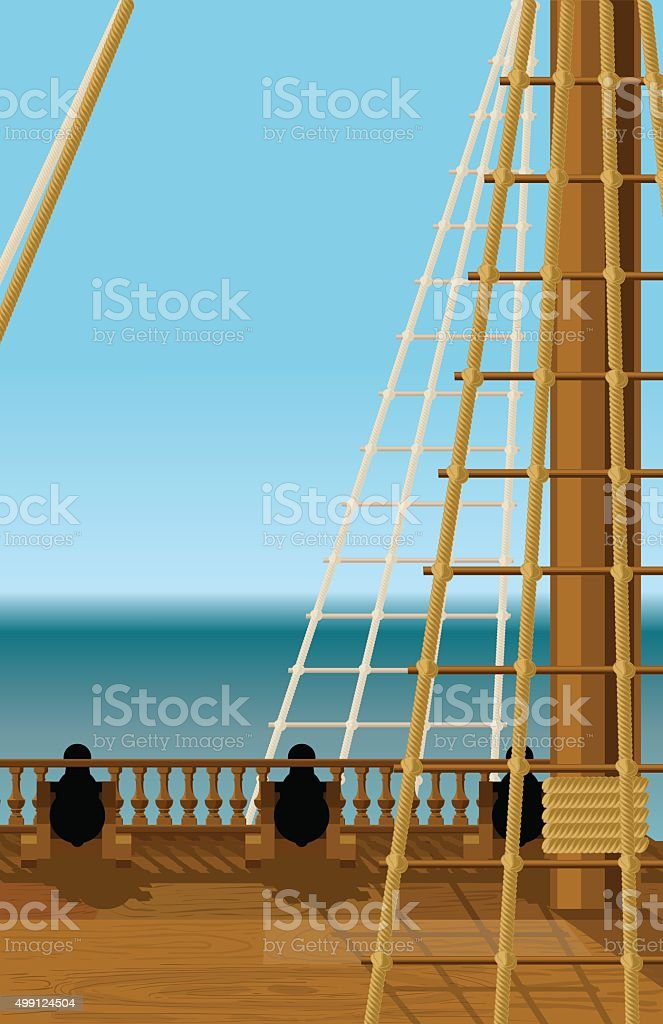 Deck of the old ship vector art illustration