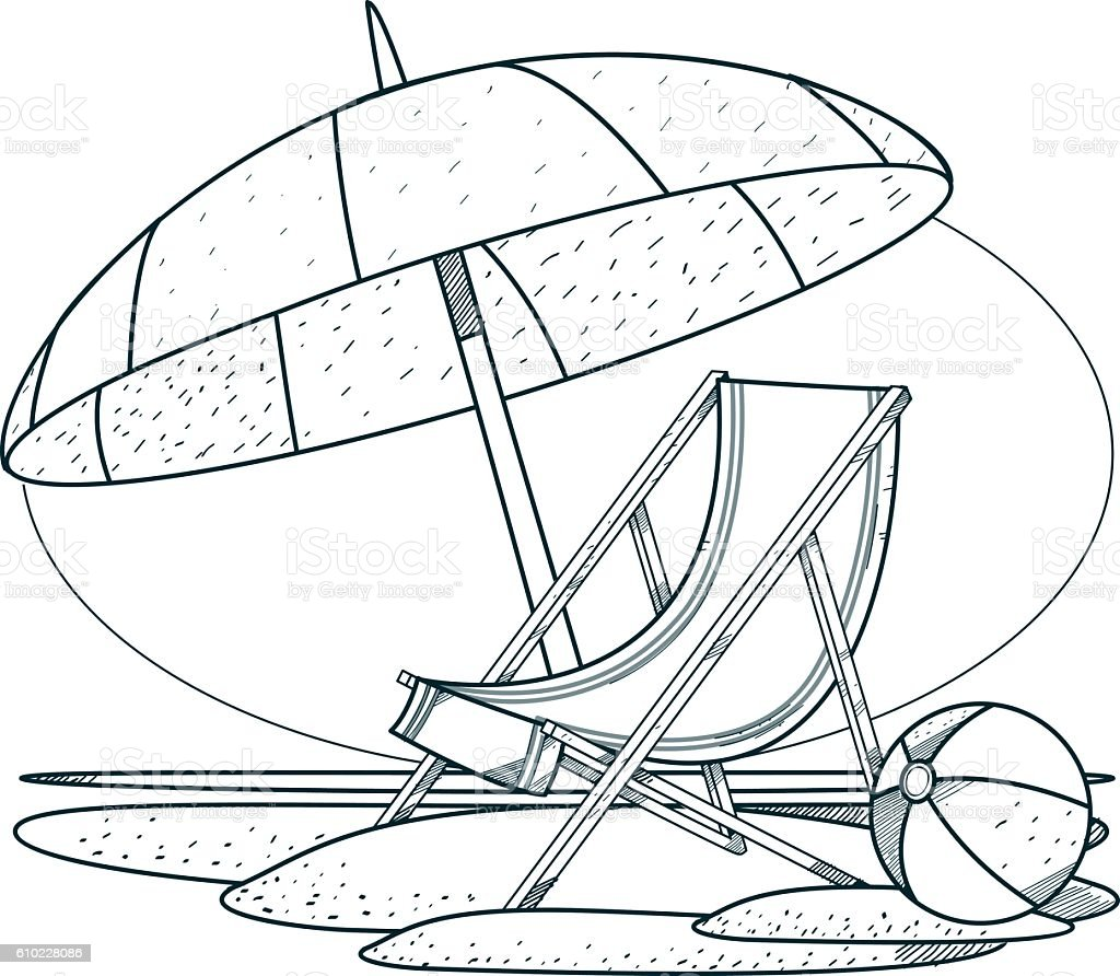 Chair beach umbrella and chair black and white -  Beach Umbrella Coloring Deck Chair Deckchair And Parasol On The Beach Outline Drawings For Coloring Royalty Free Stock
