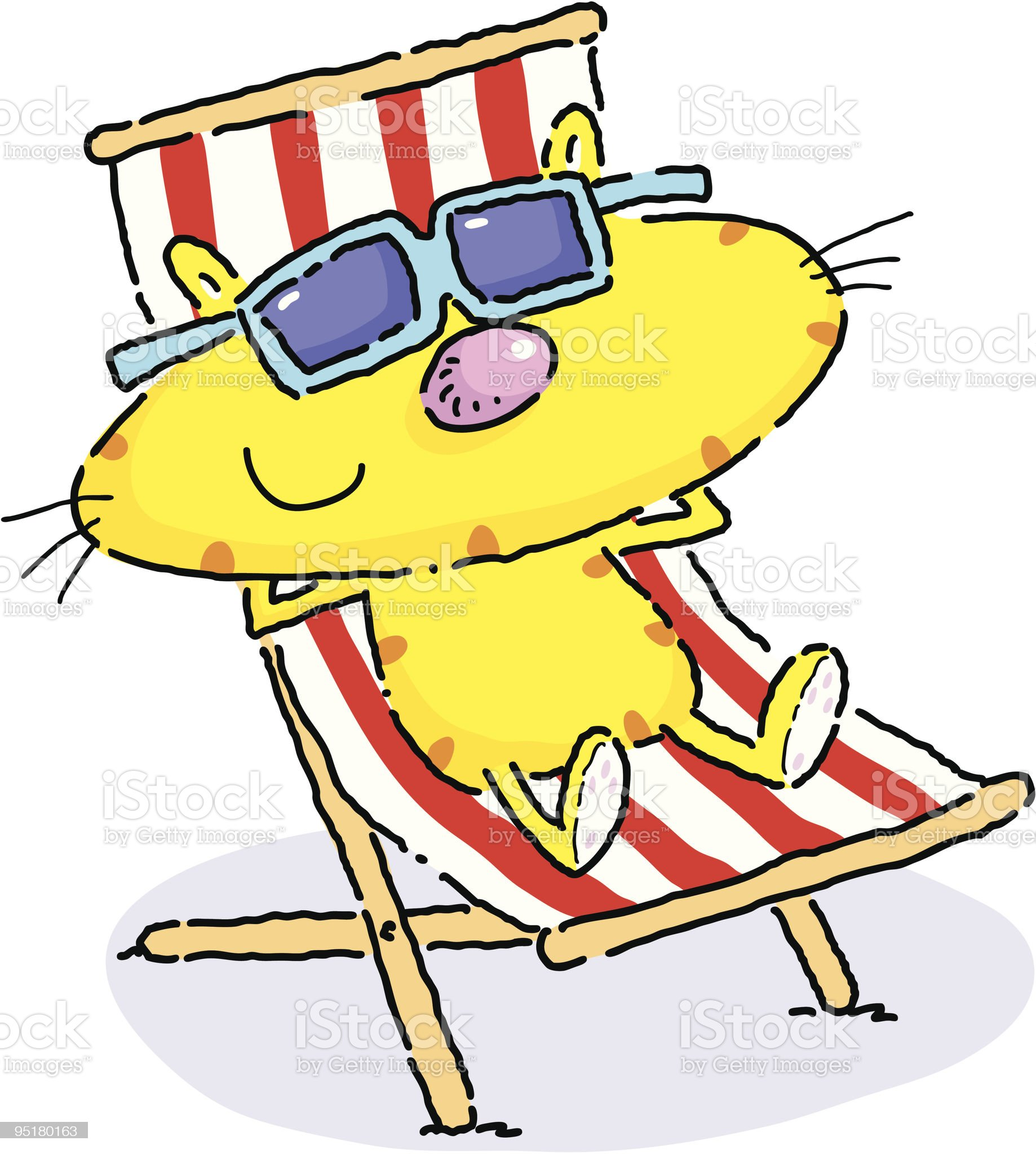 Deckchair Cat royalty-free stock vector art