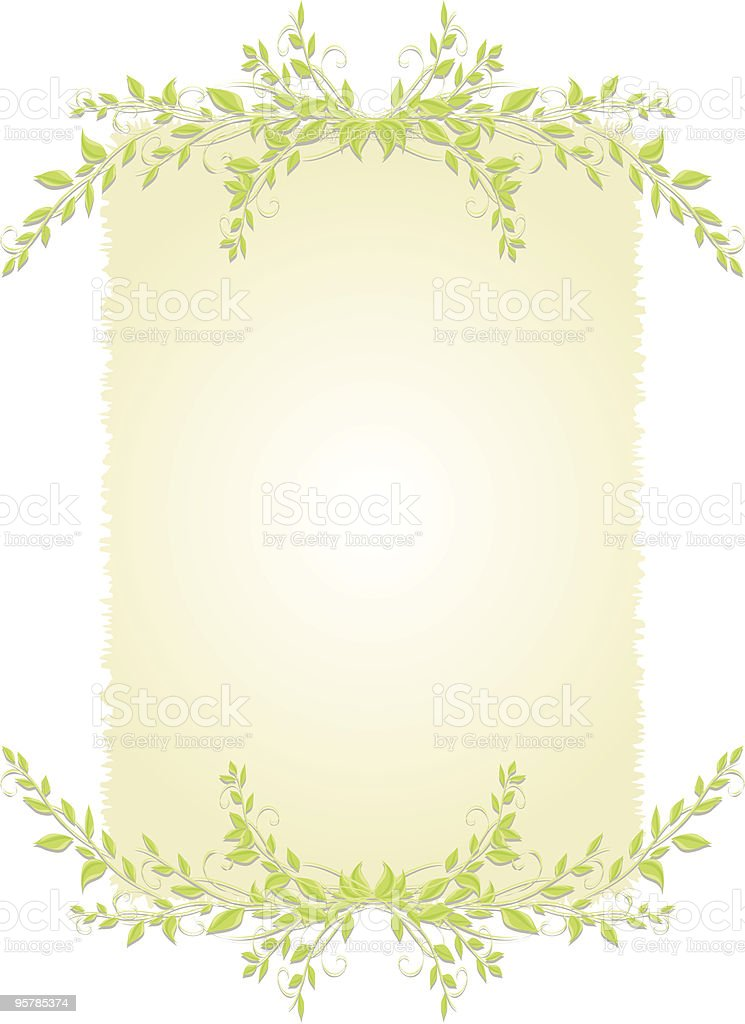 Deckled background with leaves royalty-free stock vector art