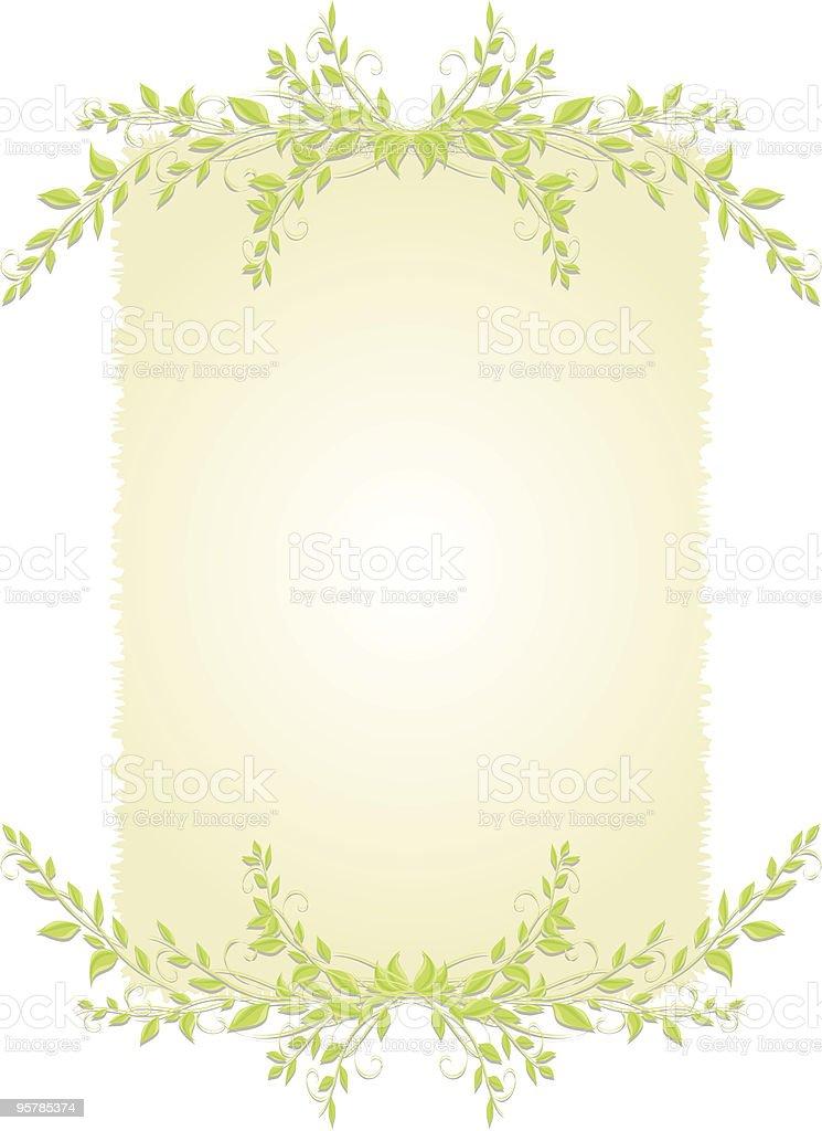 Deckled background with leaves vector art illustration