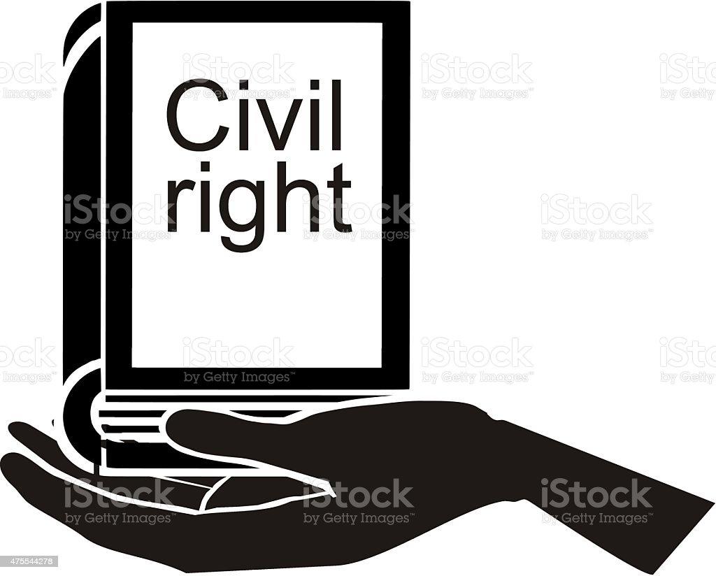Declaration civil rights in hand vector art illustration