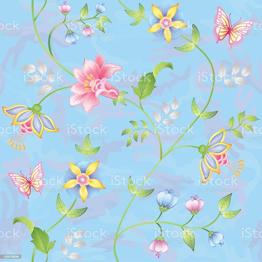 Decor floral elements seamless set vector art illustration