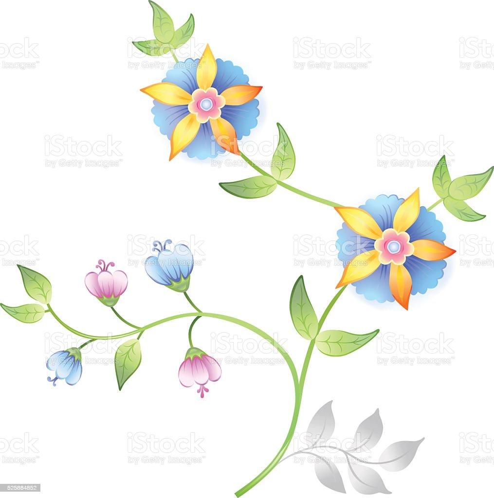 Decor floral elements set vector art illustration